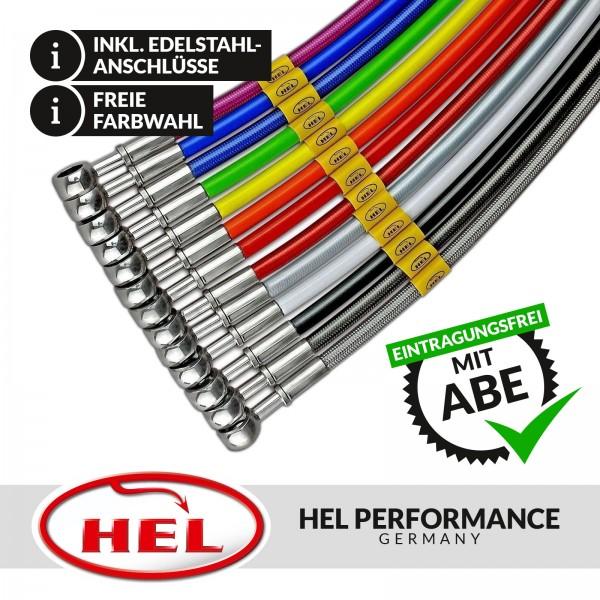 HEL Stahlflex Bremsleitungen (4-teilig) Hyundai Coupe Trommeln hinten 99-02, mit ABE