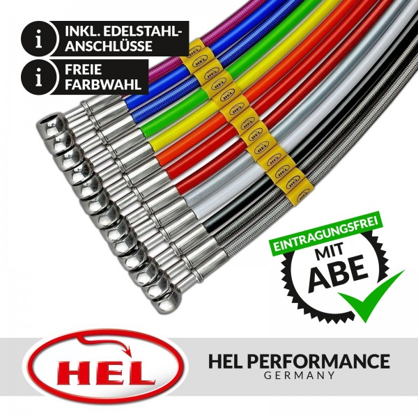 HEL Stahlflex Bremsleitungen (4-teilig) Opel Omega A inkl. 3000, Evolution500, Lotus, Irmscher 4.0,